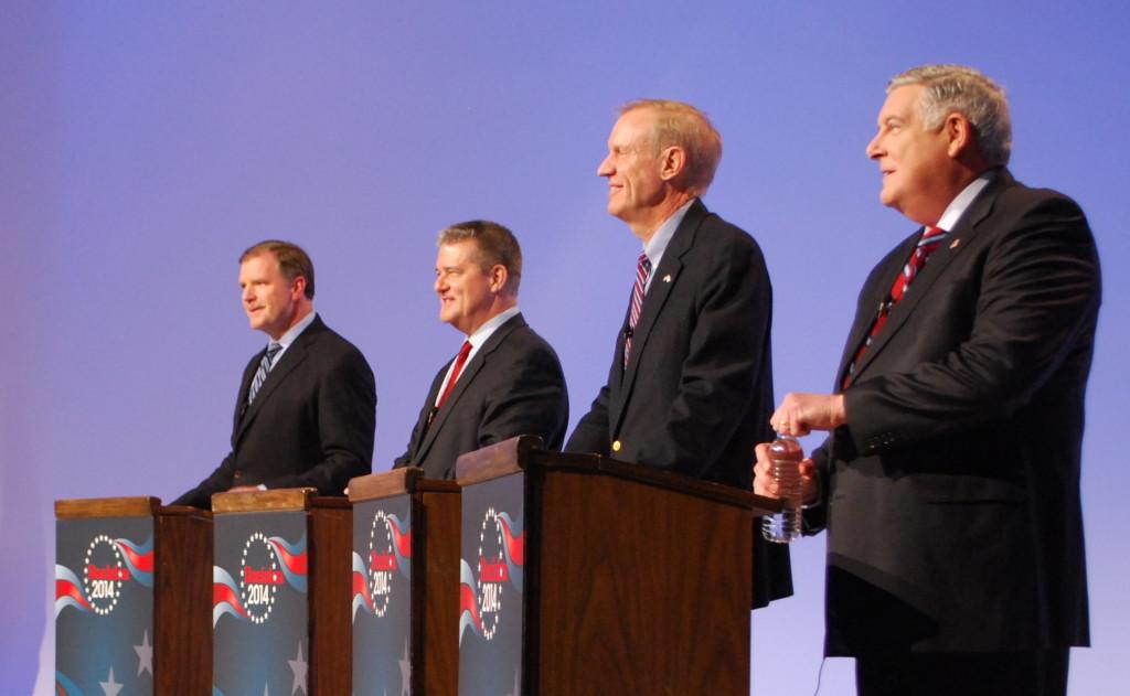 The four Republican gubernatorial hopefuls were, left to right, Bill Brady, Dan Rutherford, Bruce Rauner, and Kirk Dillard.