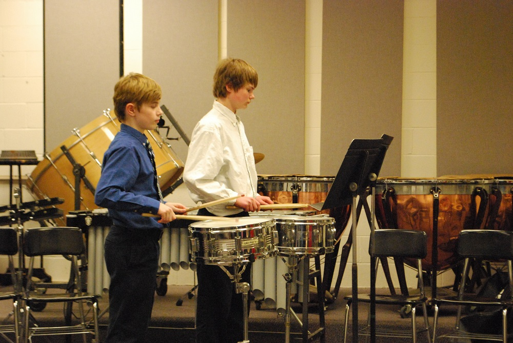 Two boys from Peoria Christ Lutheran performed a drum duet.