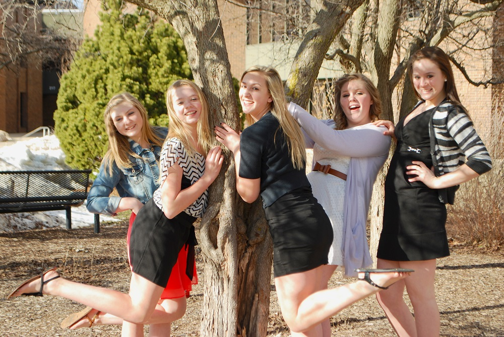 These Georgetowne Middle School students, Grace Wilson, Lauren Rhoades, Alexis Arnold, Brandee Canary and MacKenzie Barr, had fun in the courtyard while they waited for their turn to perform.