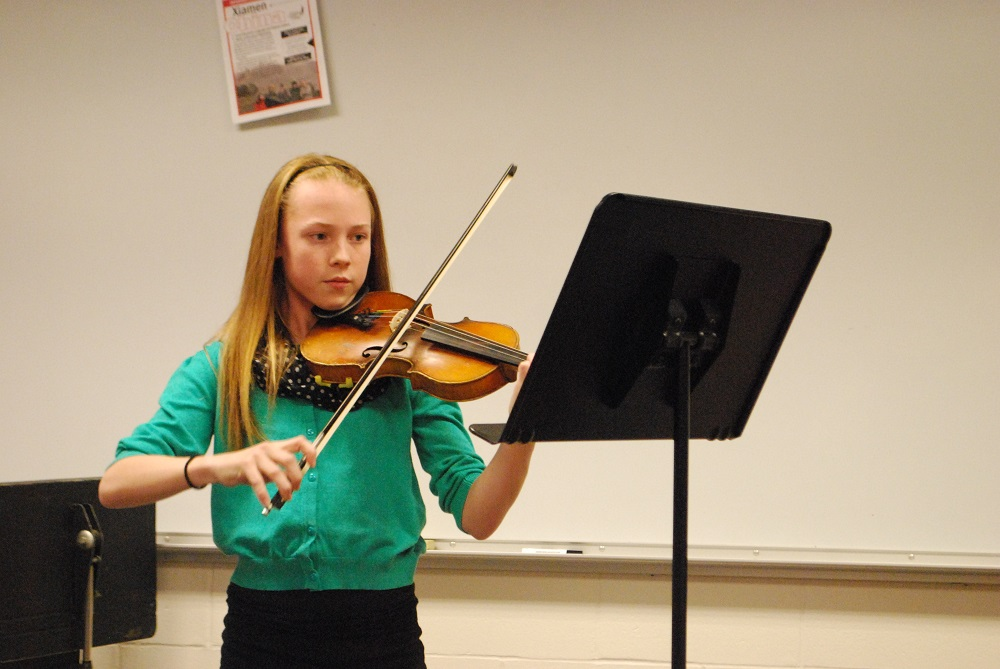 """Germantown Middle School student Mara Boast performed """"Concertino in D Major"""" on violin with an accompianist."""