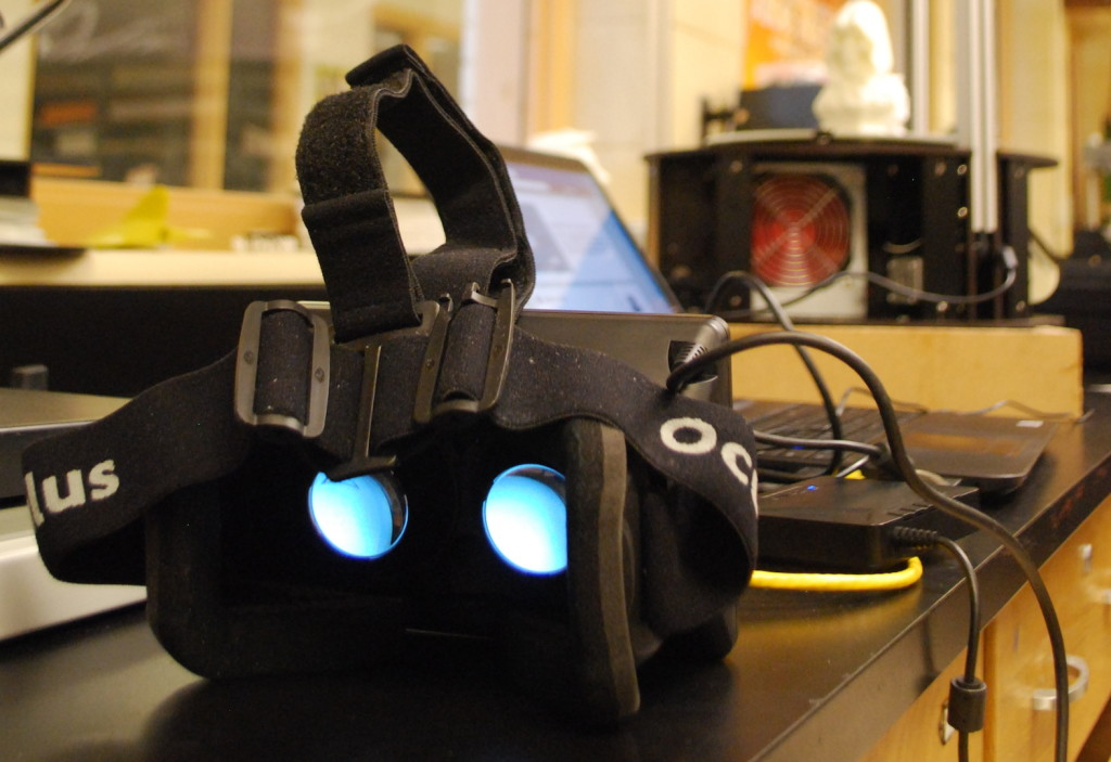 """A closer look at the Oculus Rift virtual reality goggles. Once donning them, the wearer can """"look around"""" a computer-generated environment. REID HARMAN 