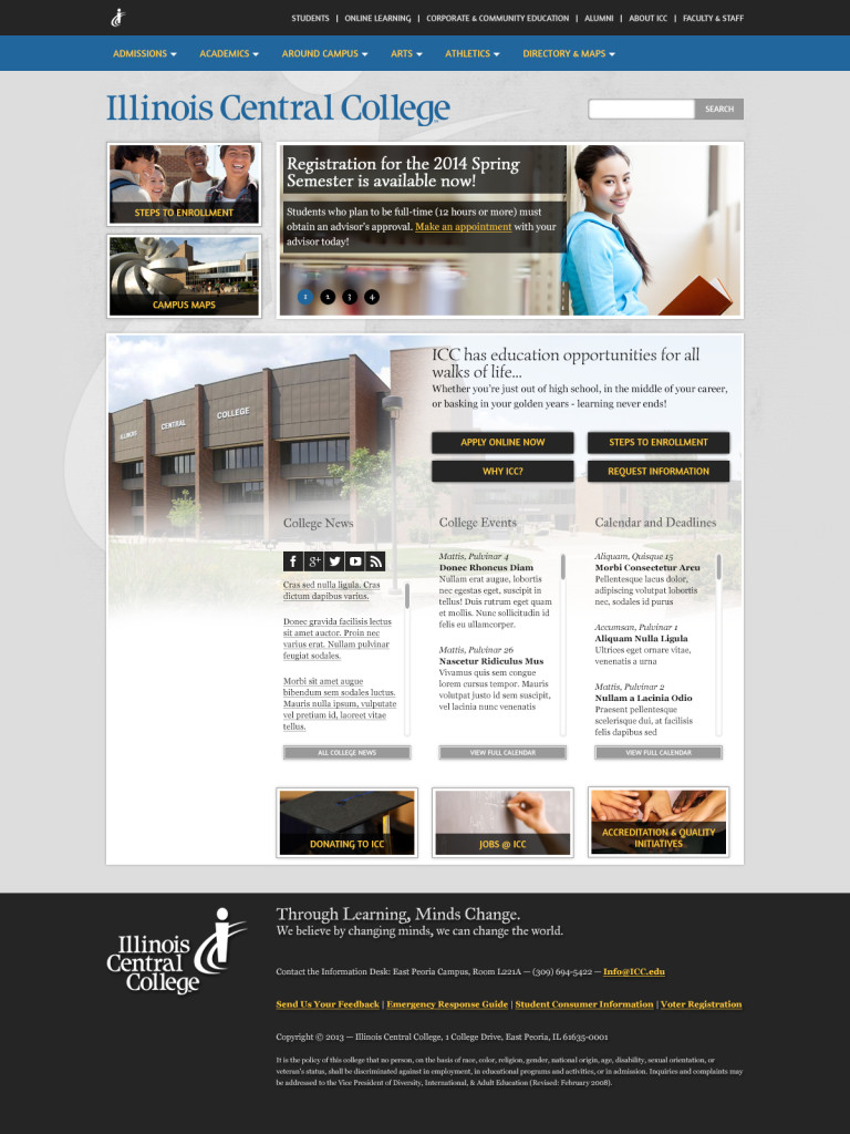 A mock-up of what the new site will likely look like by late spring or early summer. Photo Courtesy ICC WEB SERVICES