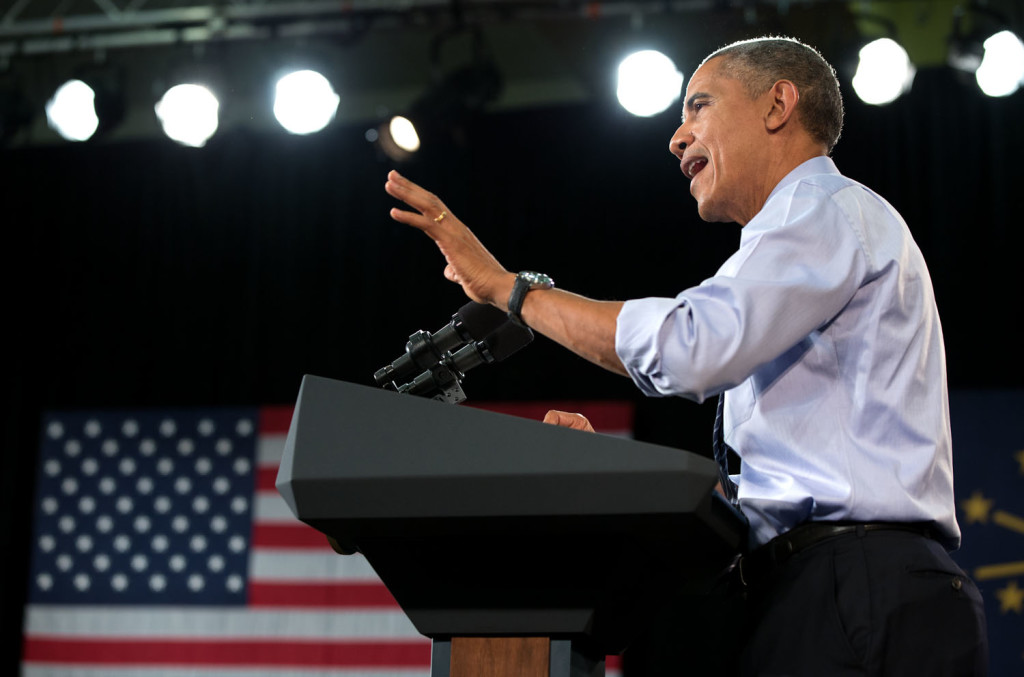 President Barack Obama speaks at Ivy Tech Community College in Indiana on Feb. 6, 2015. Photo courtesy WHITEHOUSE.GOV