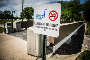 Effective on July 1, all Illinois Central College campuses will be smoke free and tobacco free. MARK NYCZ | THE HARBINGER