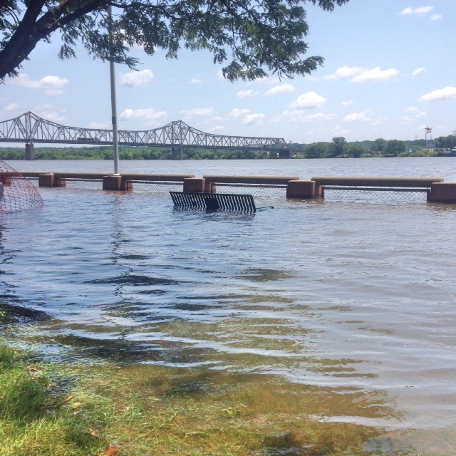 Flooding at the Peoria RiverFront. KAYLA NICOLE TYLER | THE HARBINGER